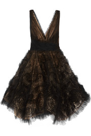 Appliquéd tulle mini dress
