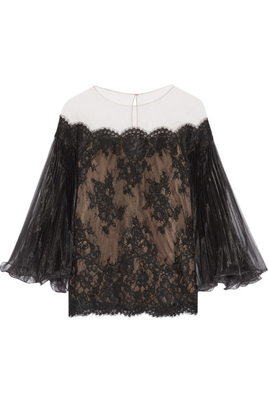 Marchesa - Off-the-shoulder Corded Lace Top - Black
