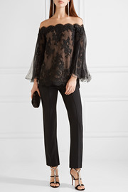 Marchesa Off-the-shoulder corded lace top