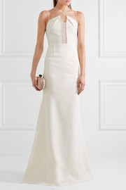 Roland Mouret Harela open-knit paneled crepe gown