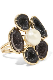 18-karat gold, geode and pearl ring