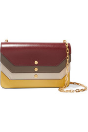 Paneled leather clutch