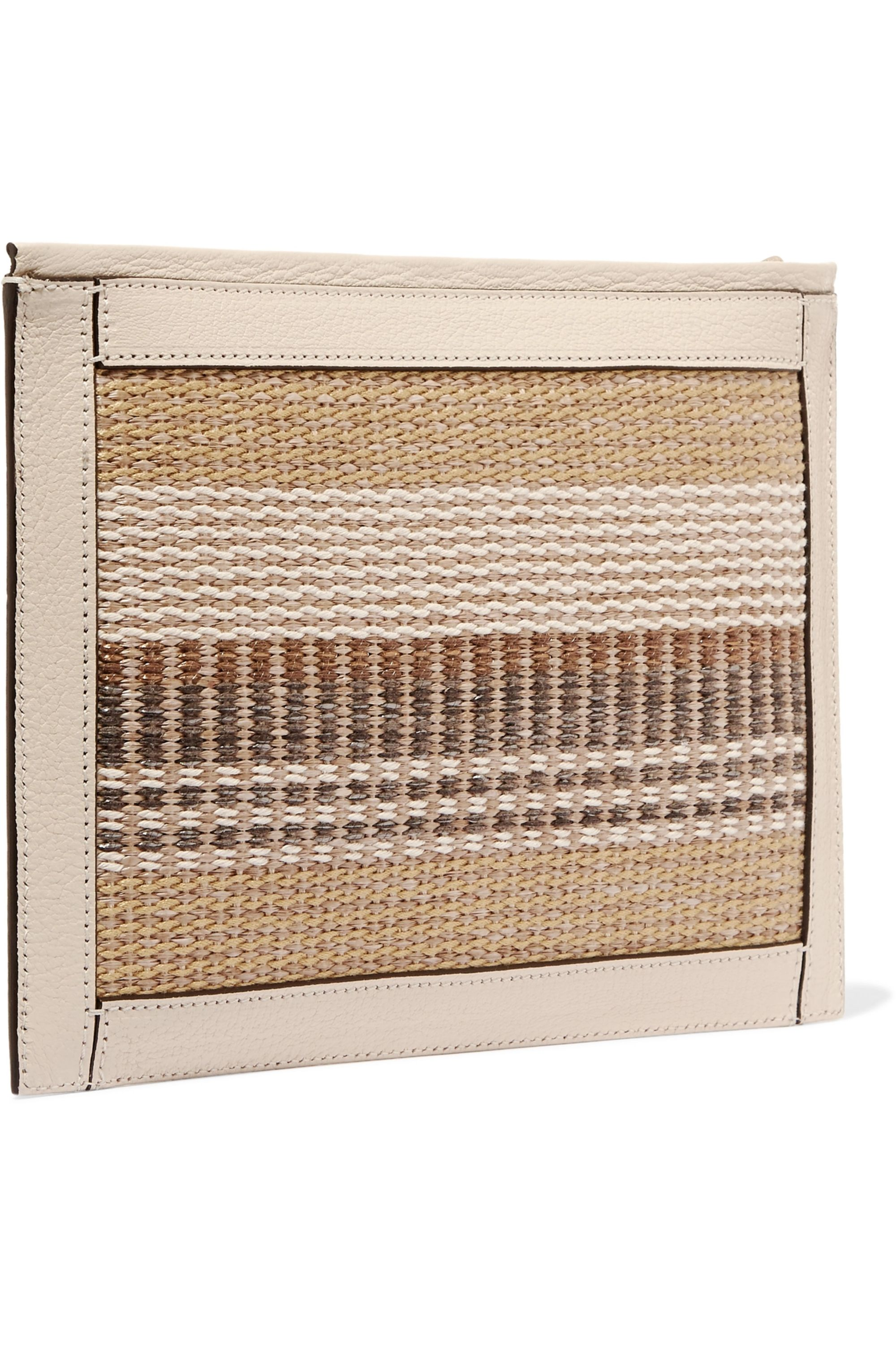 AERIN Textured leather-trimmed striped straw pouch