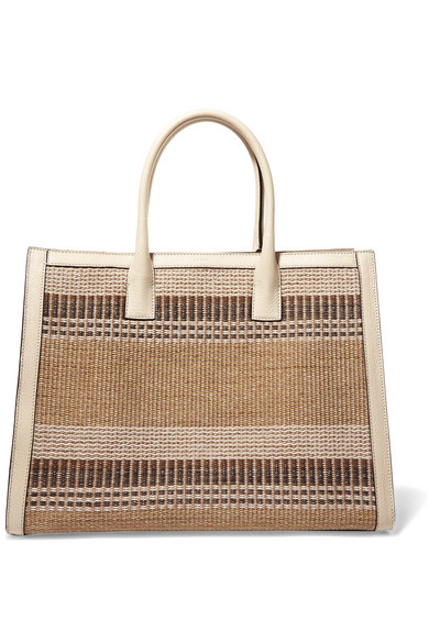AERIN - Textured Leather-trimmed Striped Straw Tote - Beige