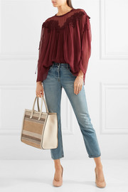 Textured leather-trimmed striped straw tote