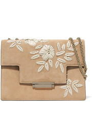 Embroidered suede and leather shoulder bag
