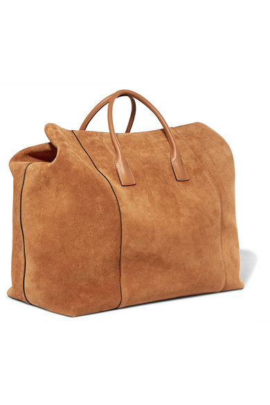 AERIN | Leather-trimmed suede weekend bag | NET-A-PORTER.COM