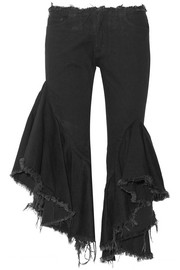 Ruffled frayed low-rise flared jeans