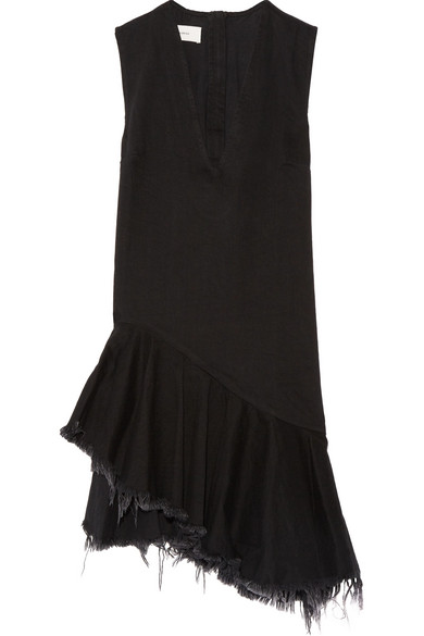 Marques' Almeida - Asymmetric Frayed Denim Dress - Black