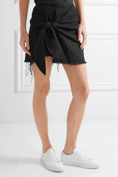 Marques' Almeida | Knotted frayed denim mini skirt | NET-A-PORTER.COM