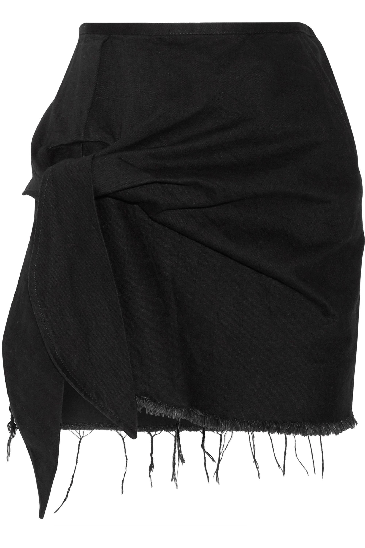 Marques' Almeida Knotted frayed denim mini skirt