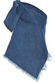 One-shoulder asymmetric frayed denim top