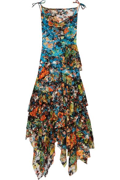 Marques' Almeida - Ruffled Floral-print Lace Midi Dress - Blue