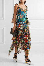 Ruffled floral-print lace midi dress