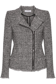 Leather-trimmed frayed cotton-blend tweed jacket