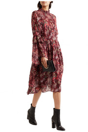 Smocked floral-print georgette dress