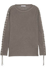 Salim lace-up linen-jersey top