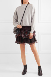 IRO Loey tiered printed crepon mini skirt
