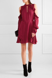 IRO Hanie cutout ruffled crepe mini dress