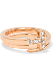 T Wrap 18-karat rose gold diamond ring