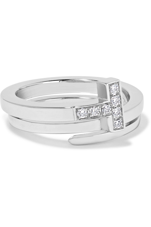Tiffany & Co. T Wrap Ring aus 18 Karat Weißgold mit Diamanten