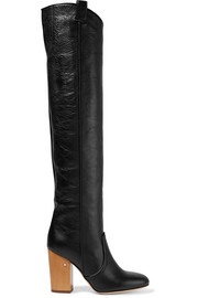 Silas crinkled-leather over-the-knee boots