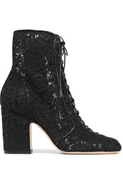 Milly leather-trimmed lace ankle boots