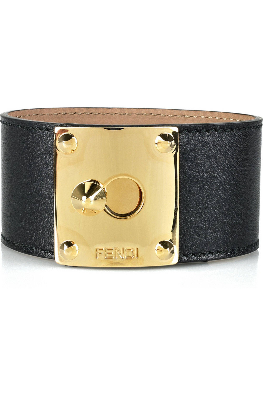 Fendi Leather and gold-tone cuff