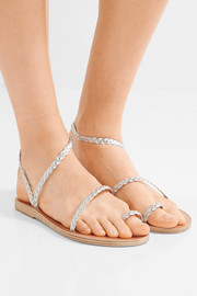 Ancient Greek Sandals Eleftheria braided metallic leather sandals