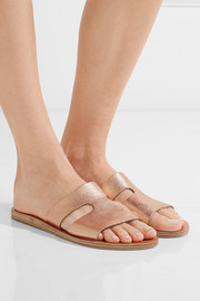 Ancient Greek Sandals Apteros cutout metallic leather slides