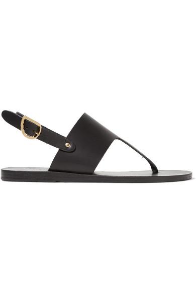 Ancient Greek Sandals - Armonia Leather Sandals - Black