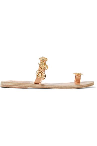 Ancient Greek Sandals - Selene Embellished Leather Sandals
