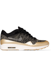 Nike Air Max 1 Ultra 2.0 metallic leather-trimmed Flyknit sneakers