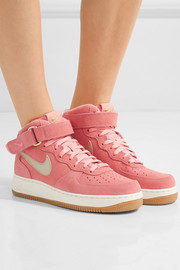 Nike Air Force 1 leather-trimmed suede high-top sneakers