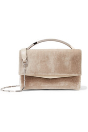 Eddie Borgo Boyd Vanity leather-trimmed velvet shoulder bag