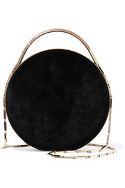 Chet Minaudiere leather-trimmed velvet shoulder bag