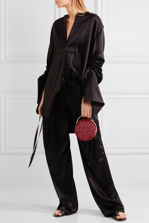 Eddie Borgo Chet Minaudiere leather-trimmed velvet shoulder bag