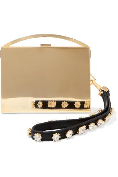 Eddie Borgo - Lou Embellished Leather-trimmed Gold-tone Clutch - Metallic
