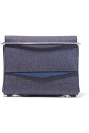 Eddie Borgo Boyd small leather-trimmed denim clutch