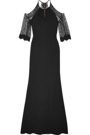 Roland Mouret Carrington cutout lace-paneled stretch-crepe gown