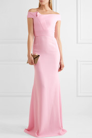 Roland Mouret Gerzon off-the-shoulder wool-crepe gown
