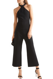 Linnel cropped stretch-cady halterneck jumpsuit