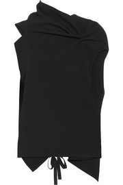 Roland Mouret Eugene open-back draped wool-crepe top