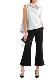 Eugene open-back draped wool-crepe top