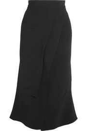 Watts layered stretch-crepe skirt