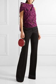 Roland Mouret Eugene open-back draped fil coupé cotton and silk-blend top
