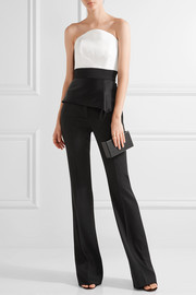 Roland Mouret Penn asymmetric satin and crepe bustier top
