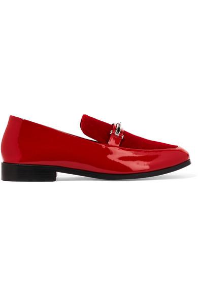 NewbarK - Melanie Velvet-paneled Patent-leather Loafers - Red