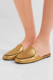NewbarK Liza metallic brushed-leather slippers