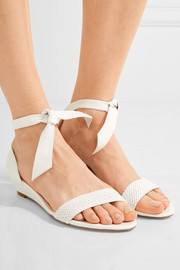 Atenah bow-embellished leather wedge sandals